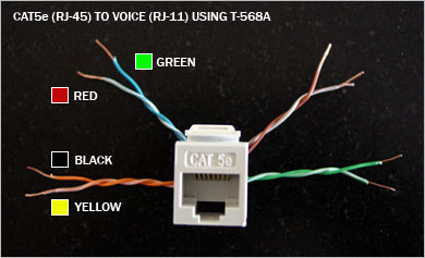 RJ 45toRJ 11 how to using a cat5e jack (rj 45) for use with a telephone rj11 wiring diagram using cat5 at bayanpartner.co